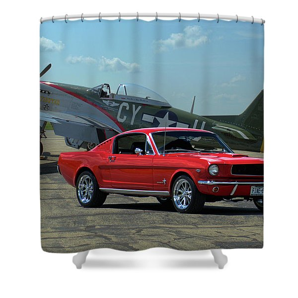 1965 Mustang Fastback And P51 Mustang Shower Curtain