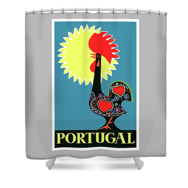 1965 Portugal Rooster Of Barcelos Travel Poster Shower Curtain