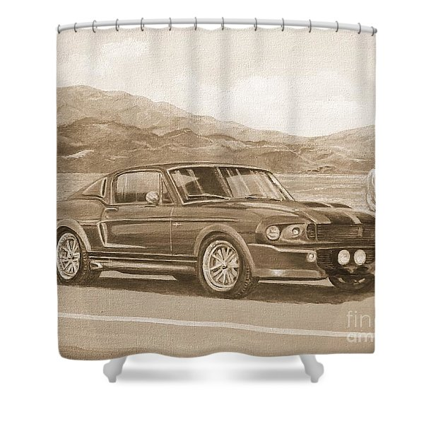 1967 Ford Mustang Fastback In Sepia Shower Curtain