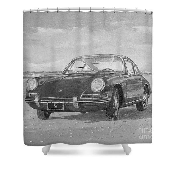 1967 Porsche 912 In Black And White Shower Curtain