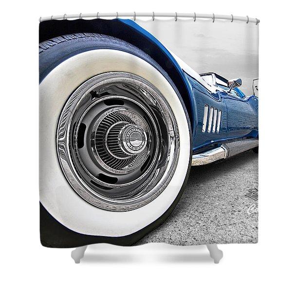 1968 Corvette White Wall Tires Shower Curtain