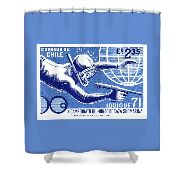 1971 Chile Spearfishing Championship Postage Stamp Shower Curtain