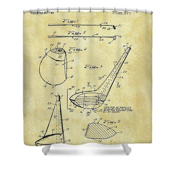 1971 Golf Club Patent Shower Curtain