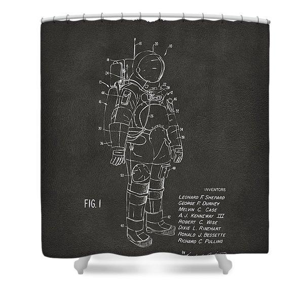 1973 Space Suit Patent Inventors Artwork - Gray Shower Curtain