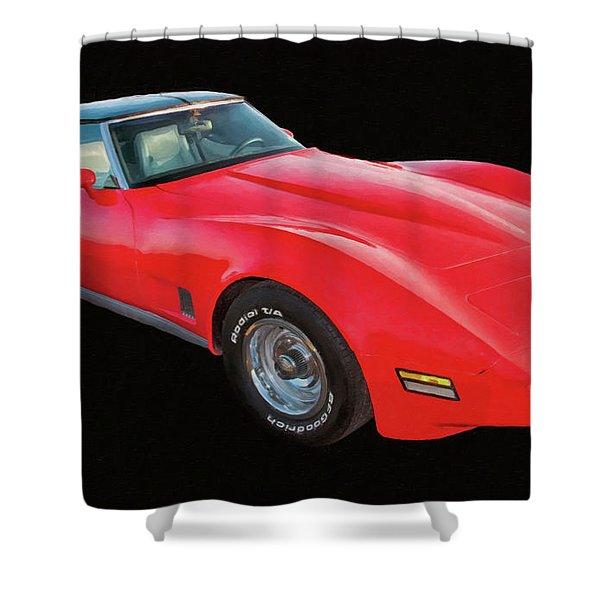 1977 Chevy Corvette T Tops Digital Oil Shower Curtain