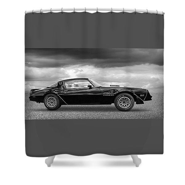 1978 Trans Am In Black And White Shower Curtain
