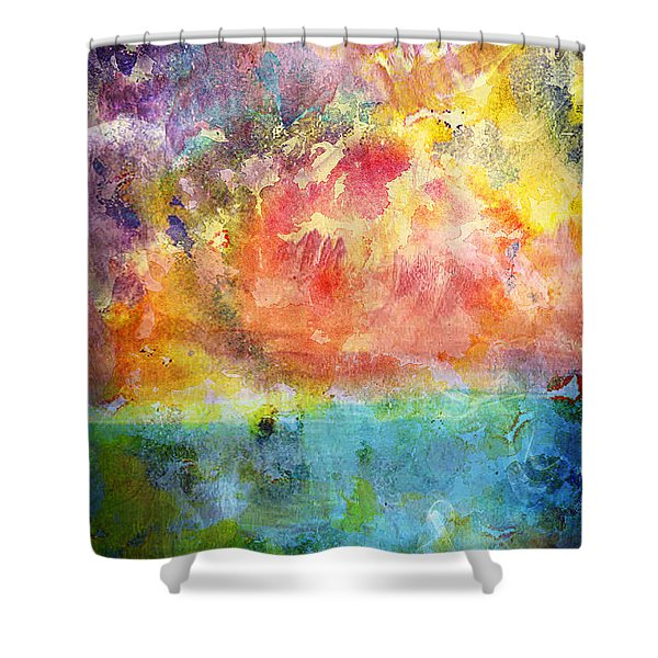 Shower Curtain featuring the painting 1c Abstract Expressionism Digital Painting by Ricardos Creations