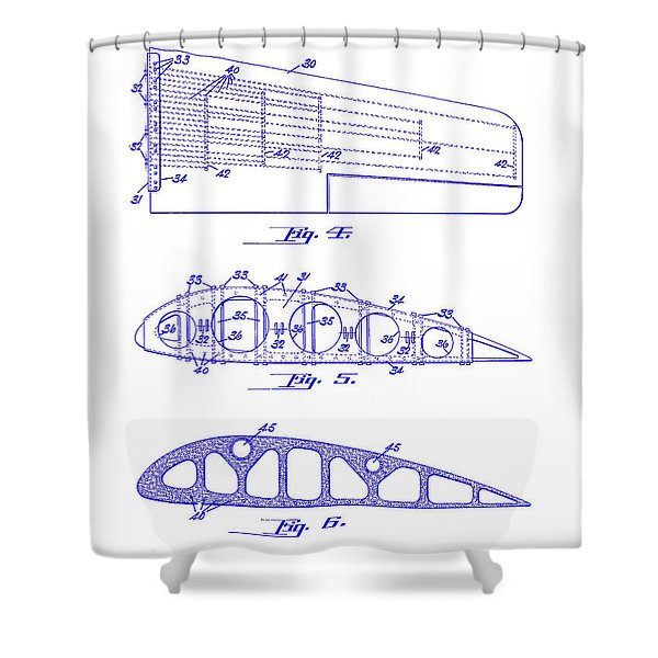 1925 Airplane Wing Patent Shower Curtain