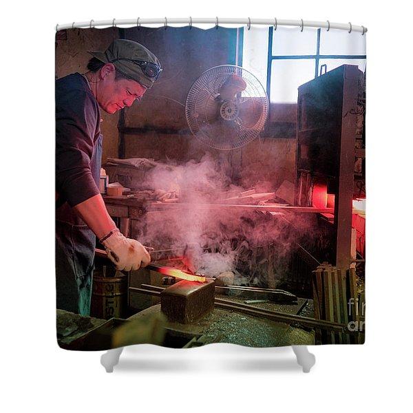 4th Generation Blacksmith, Miki City Japan Shower Curtain