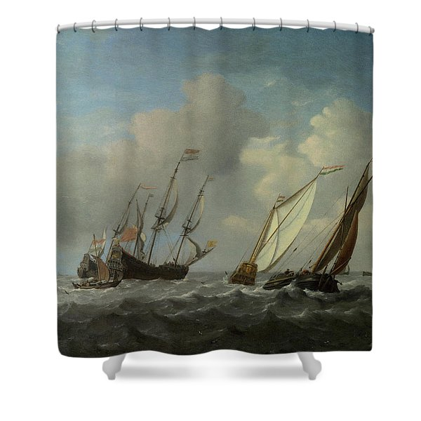 A Dutch Ship, A Yacht And Smaller Vessels In A Breeze Shower Curtain