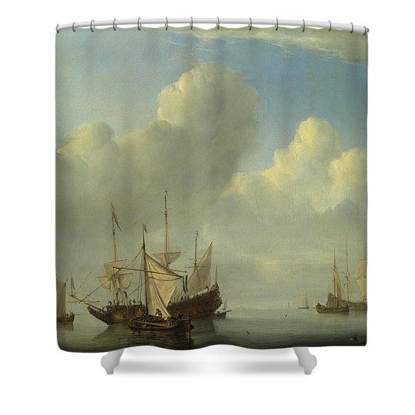 A Dutch Ship Coming To Anchor Shower Curtain