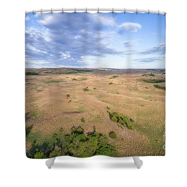 aerial view of Nebraska Sandhills  Shower Curtain