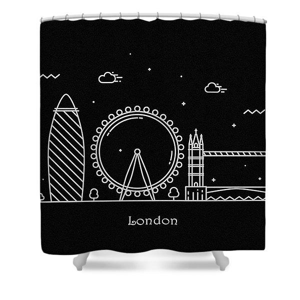 London Skyline Travel Poster Shower Curtain
