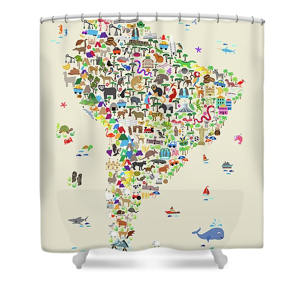 Animal Map Of South America For Children And Kids Shower Curtain