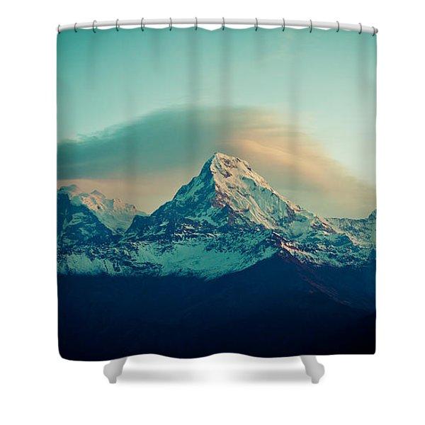 Shower Curtain featuring the photograph Annapurna South At Sunrise In Himalayas Artmif Photo Raimond Klavins by Raimond Klavins