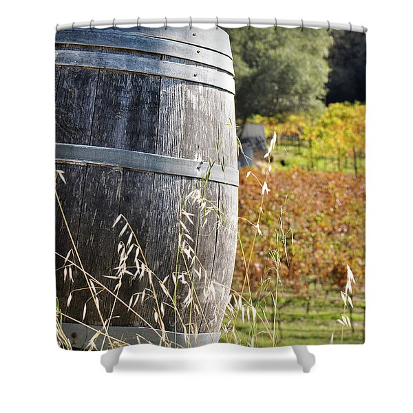Barrel In The Vineyard Shower Curtain