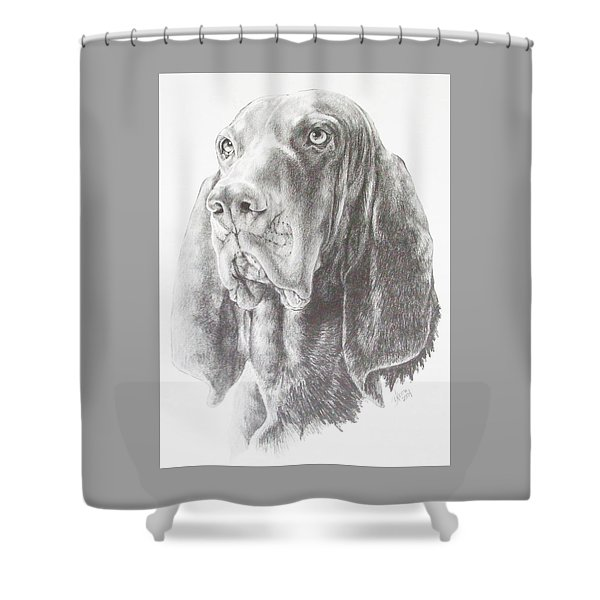Shower Curtain featuring the drawing Black And Tan Coonhound In Graphite by Barbara Keith