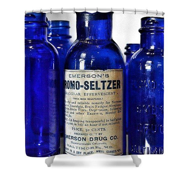 Bromo Seltzer Vintage Glass Bottles Collection Shower Curtain