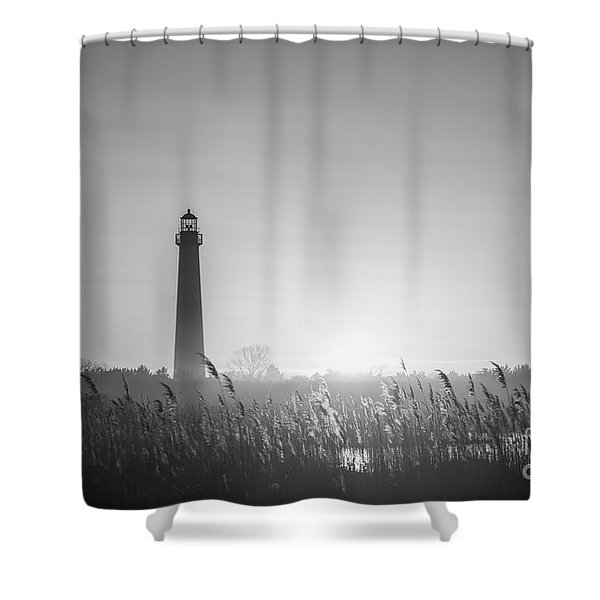 Cape May Lighthouse Sunset Bw Shower Curtain