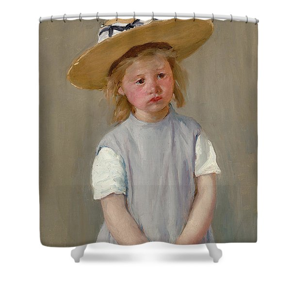 Child In A Straw Hat Shower Curtain