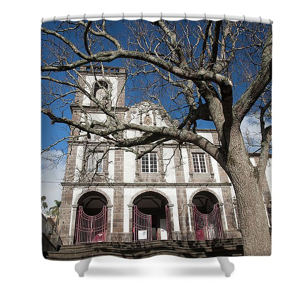 Church In Ponta Delgada Shower Curtain
