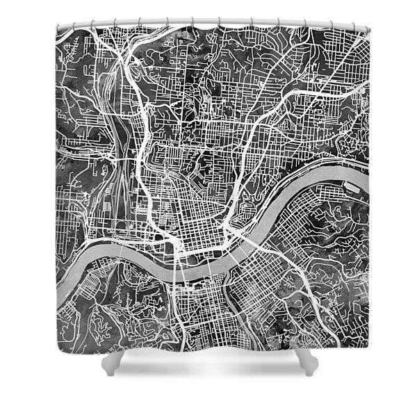 Cincinnati Ohio City Map Shower Curtain