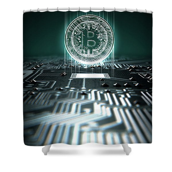Circuit Board Projecting Bitcoin Shower Curtain