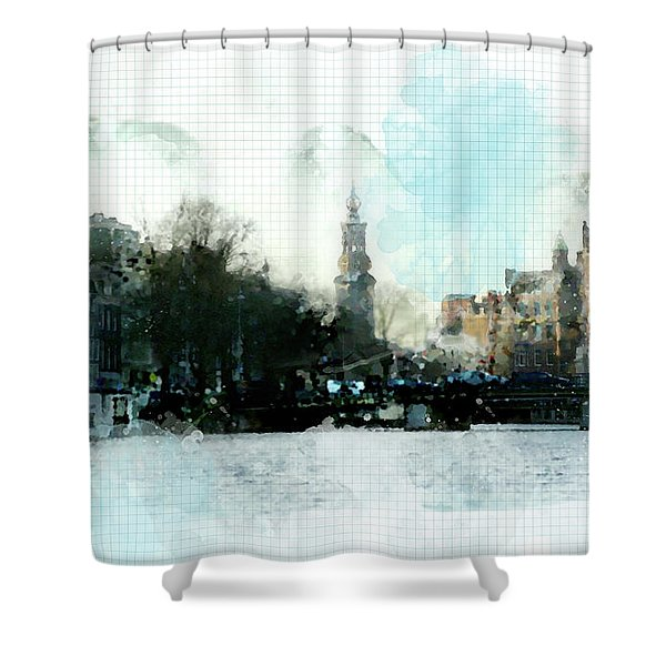 City Life In Watercolor Style Shower Curtain