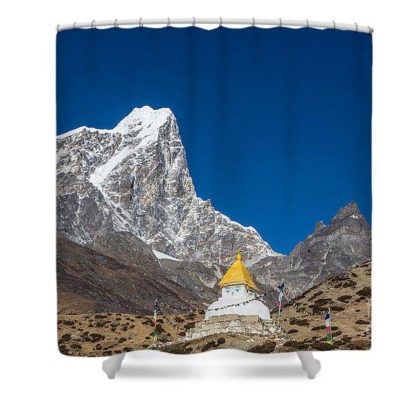 Dingboche Stupa In Nepal Shower Curtain