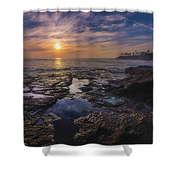 Diver's Cove Sunset Shower Curtain