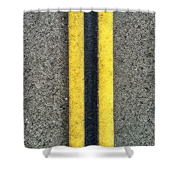 Double Yellow Road Lines Shower Curtain