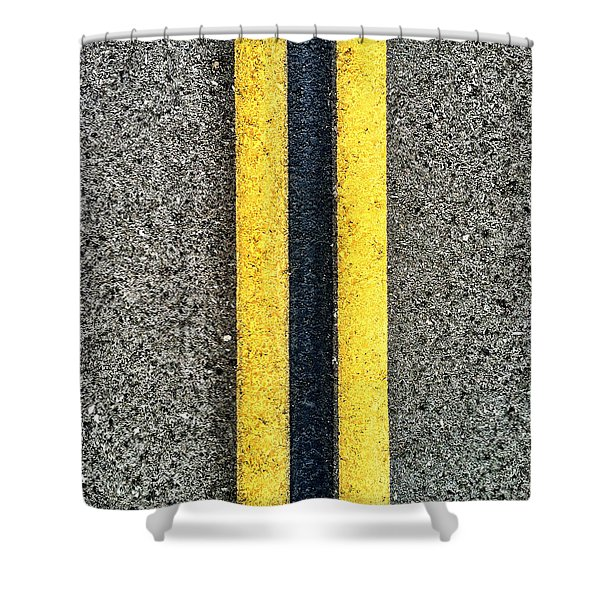 Shower Curtain featuring the photograph Double Yellow Road Lines by Bryan Mullennix