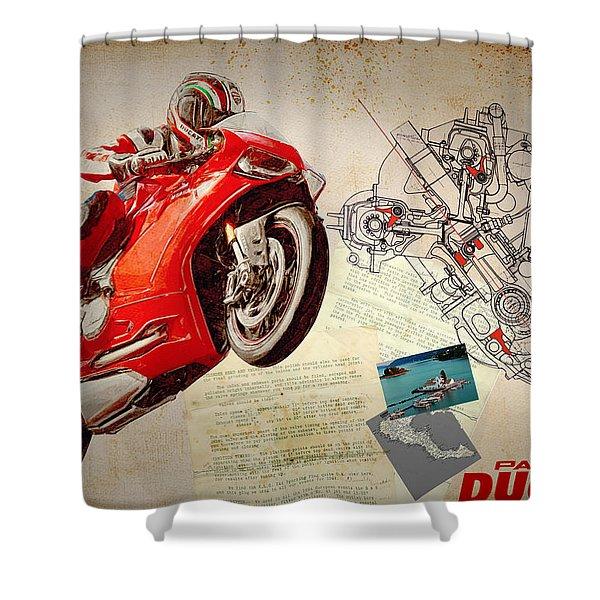 Ducati Panigale Shower Curtain