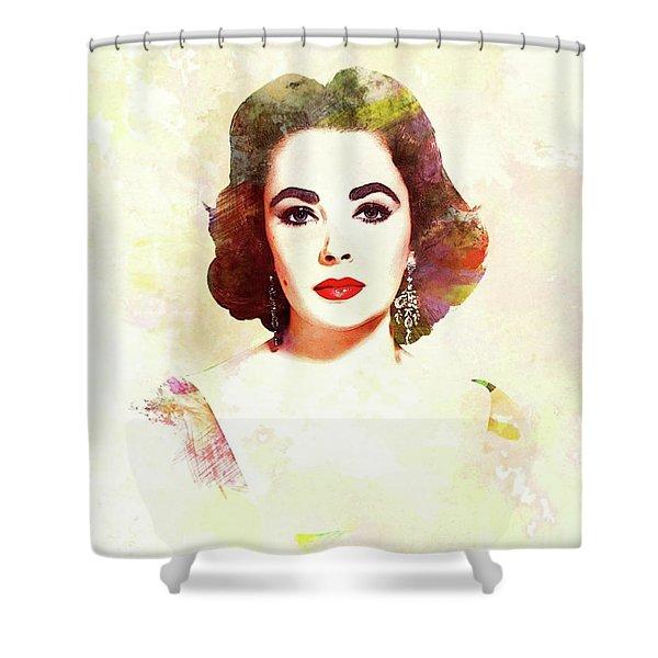 Elizabeth Taylor, Vintage Actress Shower Curtain