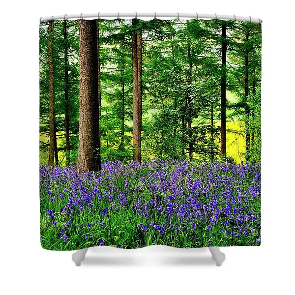 English Bluebell Wood Shower Curtain