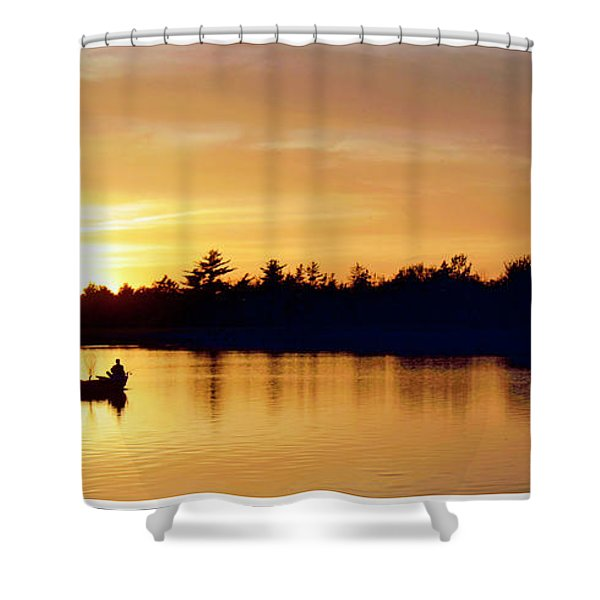 Fishermen On A Lake At Sunset Shower Curtain