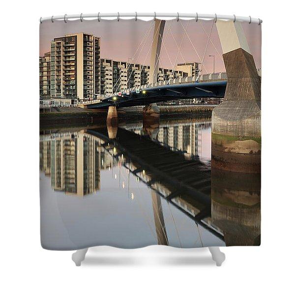 Glasgow Clyde Arc Bridge At Sunset Shower Curtain