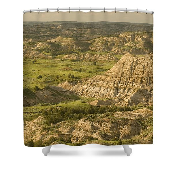 Green Hills And Buttes In Spring Shower Curtain