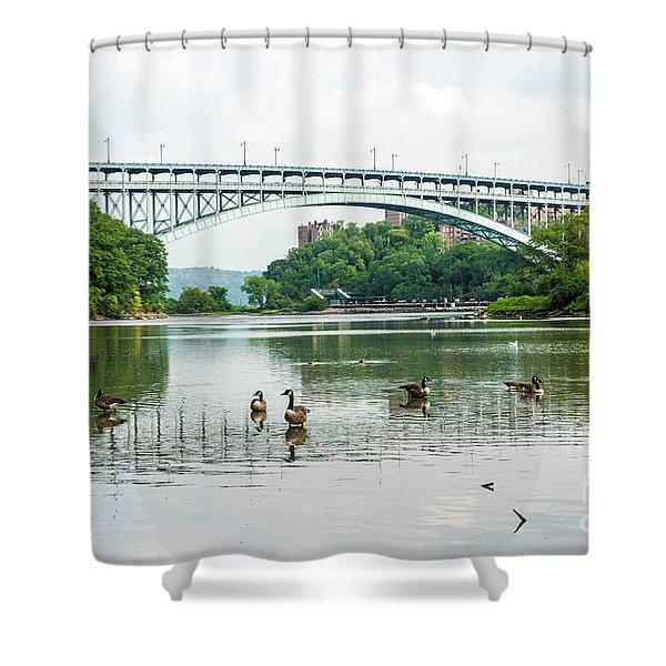 Henry Hudson Bridge Shower Curtain