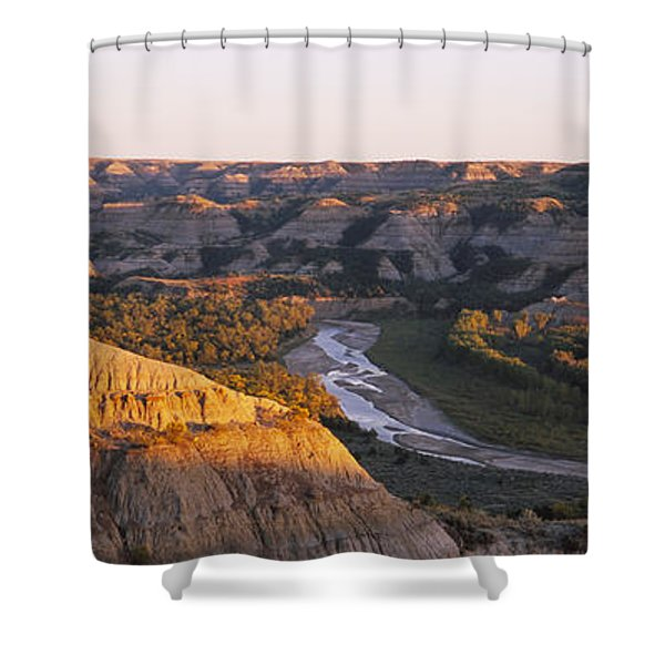 High Angle View Of A River Passing Shower Curtain