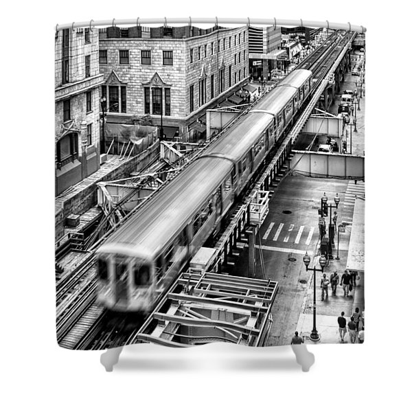 Historic Chicago El Train Black And White Shower Curtain