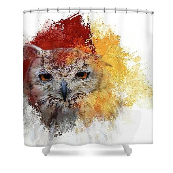 Indian Eagle-owl Shower Curtain