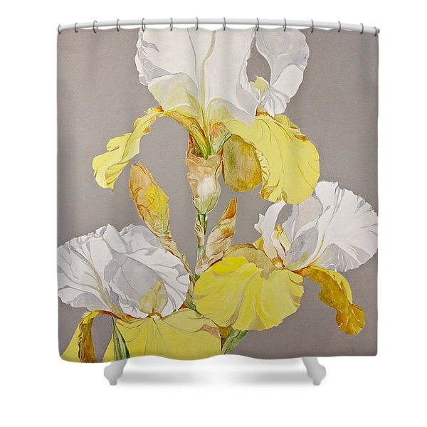 Shower Curtain featuring the painting Irises-posthumously Presented Paintings Of Sachi Spohn  by Cliff Spohn