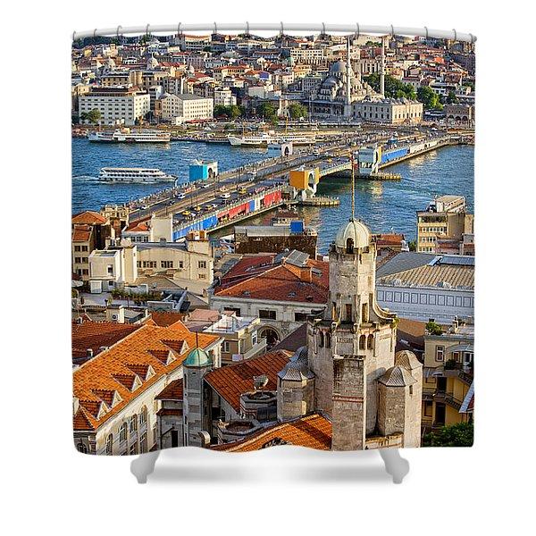 Istanbul Cityscape Shower Curtain by Artur Bogacki