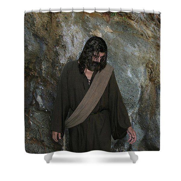 Jesus Christ- Rise And Walk With Me  Shower Curtain