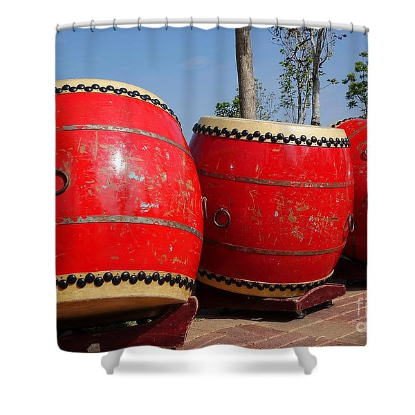 Large Chinese Drums Shower Curtain