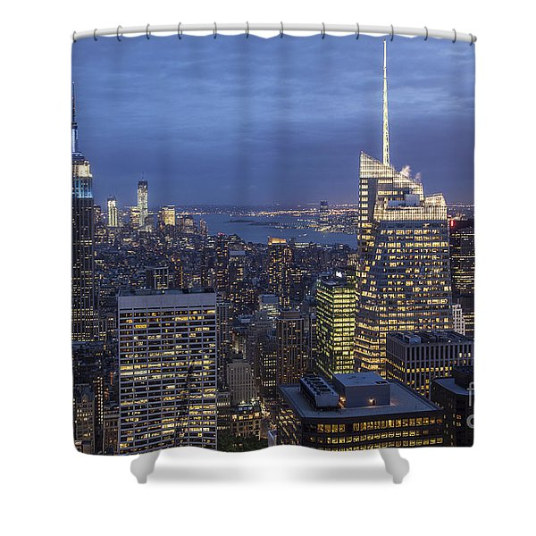 Shower Curtain featuring the photograph Manhattan Skyline New York by Juergen Held