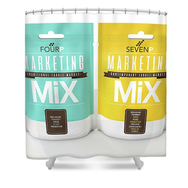 Marketing Mix 4 And 7 P's Shower Curtain