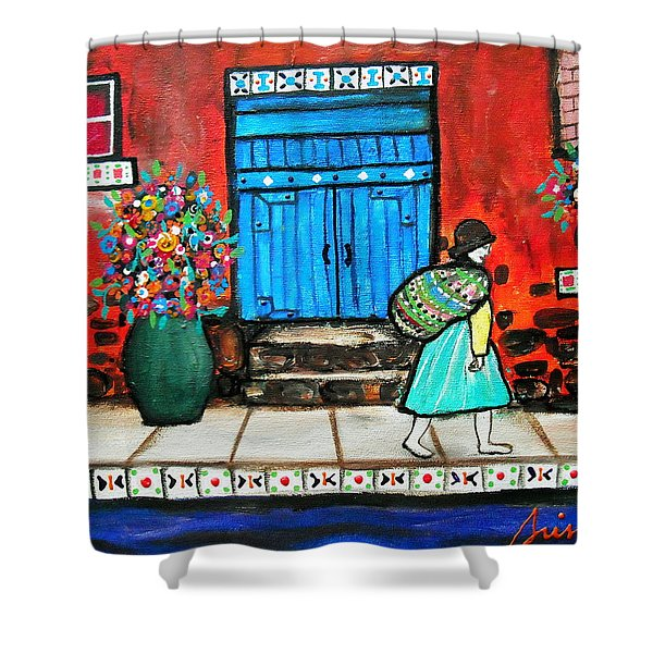 Mexican Door Painting Shower Curtain