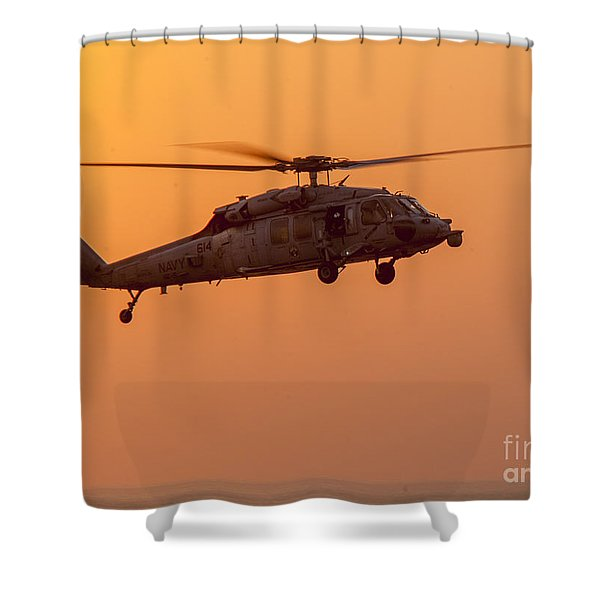 Mh-60s Sea Hawk Helicopter Shower Curtain